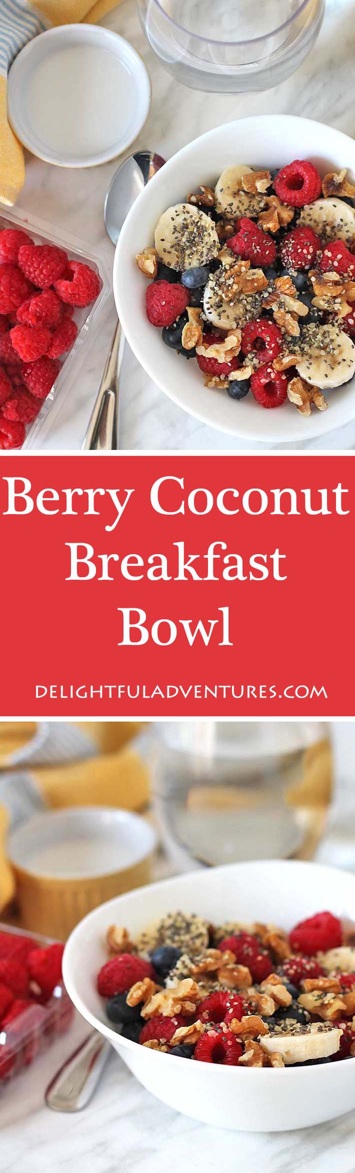 This quick, easy, delicious, and customizable Berry Coconut Breakfast Bowl is loaded with fresh berries, seasonal fruit, and coconut milk!