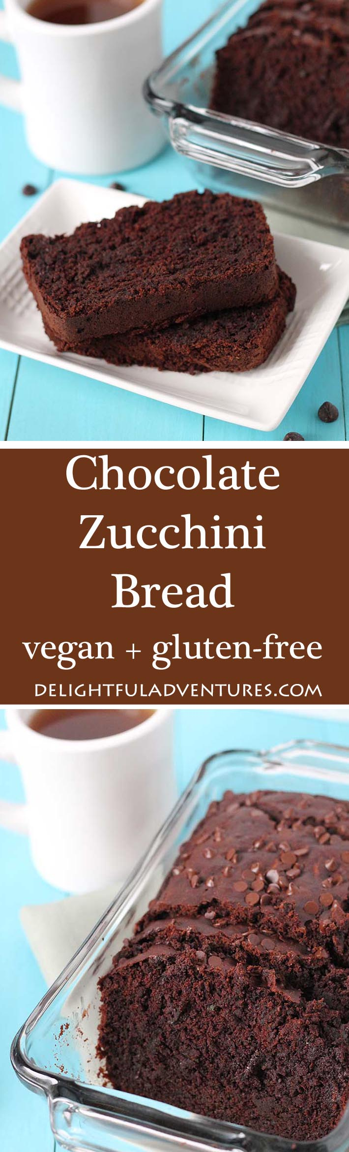 This nut free Vegan Gluten Free Chocolate Zucchini Bread gets its deep chocolaty flavour from dark chocolate and cocoa powder! No one will know it contains veggies! #zucchini #zucchinirecipe #veganchocolaterecipe