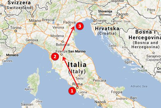 Italy in one week map