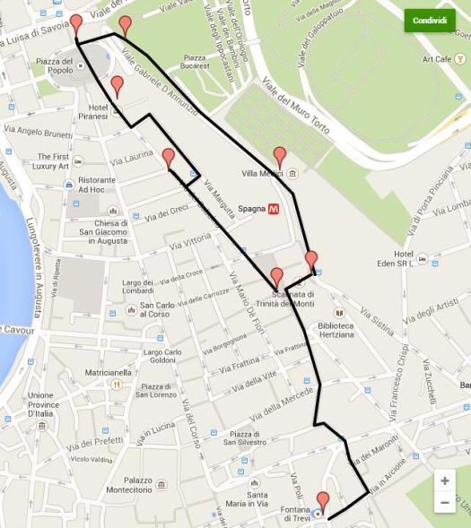 Spanish Step walking tour map