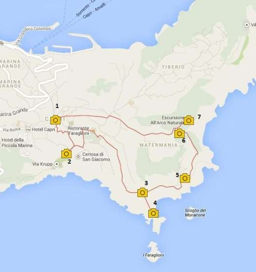 Capri walking itinerary - Map