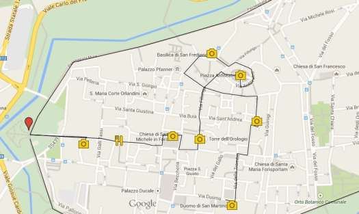 One day in Lucca - Lucca bike and walking tour itinerary map