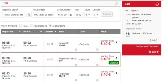 Florence to Pisa by train - Trenitalia time table