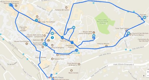 Bergamo in one day walking itinerary map