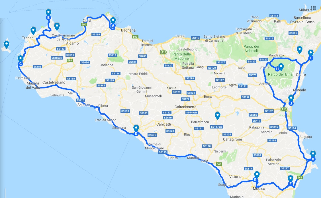7 days Sicily itinerary Large