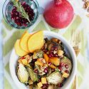 Pomegranate Salad With Roasted Persimmon, Brussels Sprouts and Maple Dressing