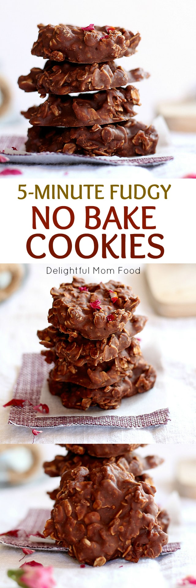 Oatmeal no bake cookies made in less than 5 minutes! Peanut butter protein powder and chocolate make these delicious fudgy and healthy no bake oatmeal cookies a for-sure crowd-pleaser!