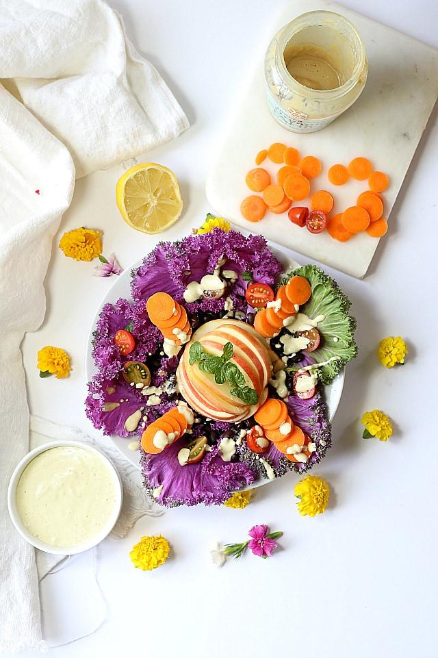 Savoy purple cabbage salad with tahini dressing | vegan | Delightful Mom Food