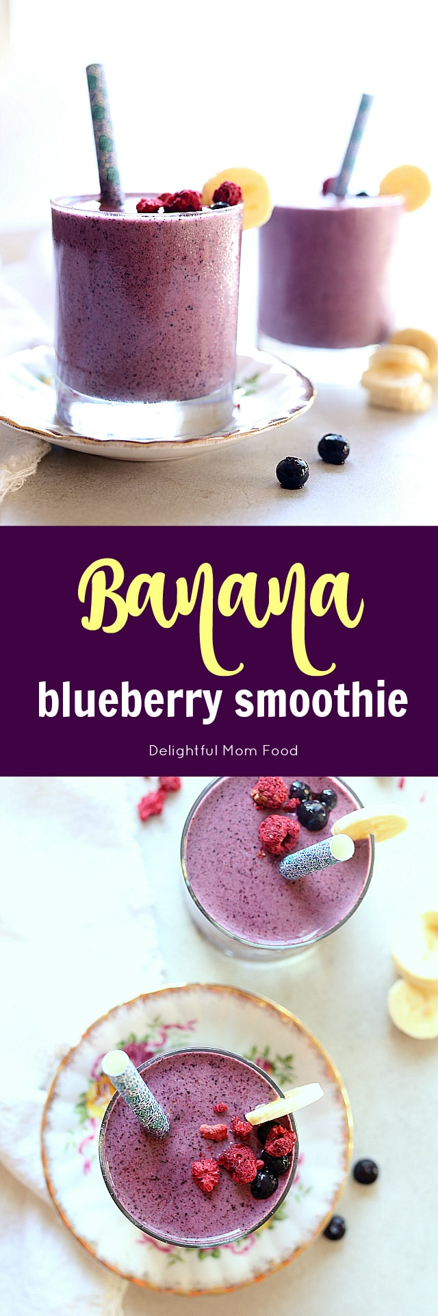 Quick and simple healthy blueberry banana smoothie recipe! To make this gorgeous indigo colored blueberry smoothie add dairy-free milk to the blender with frozen blueberries, banana and two extra secret ingredients to give you the perfect balance of energy that will last for hours!