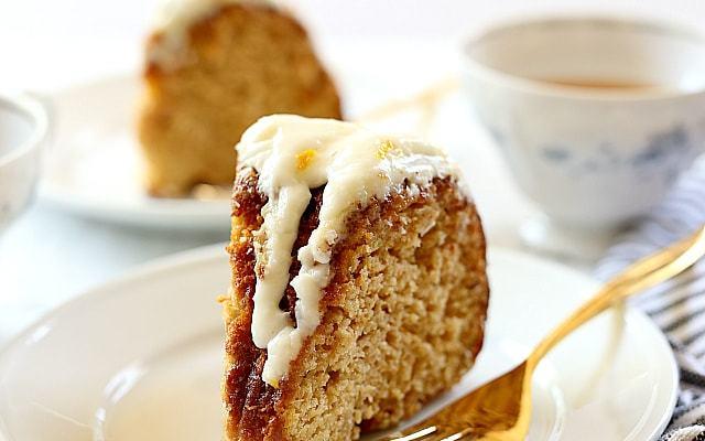 Guilt-Free Orange Juice Cake Glazed With Warm Cream Cheese Icing