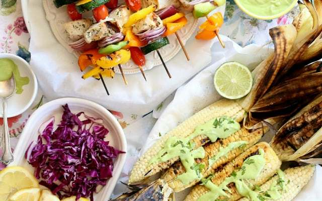 Grilled Swordfish Vegetable Kabobs & Corn with Creamy Cashew Cilantro Sauce