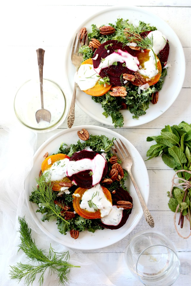 Roasted Beet Kale Salad With Herb Infused Non-Fat Greek Yogurt Dressing! A Greek yogurt dressing that you will want on every meat or vegetarian veggie dish!