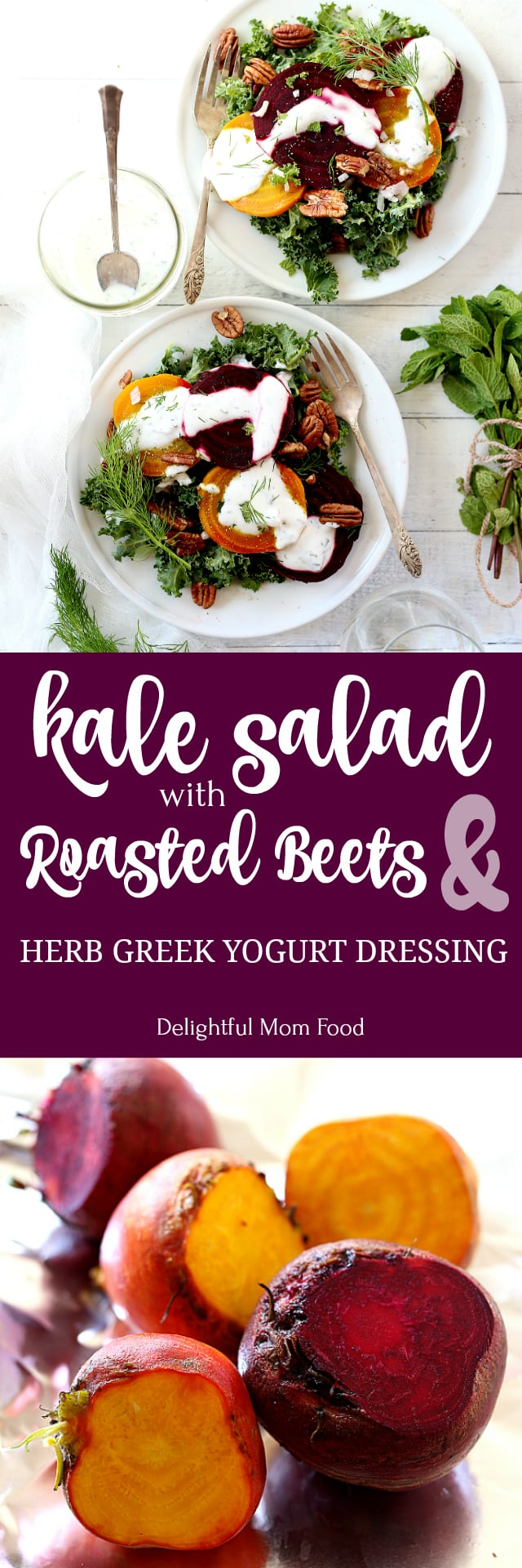 Roasted Beet Kale Salad With Herb Infused Non-Fat Greek Yogurt Dressing! This Greek yogurt dressing is easy and a perfect sauce for salads, meats and other roasted vegetables!