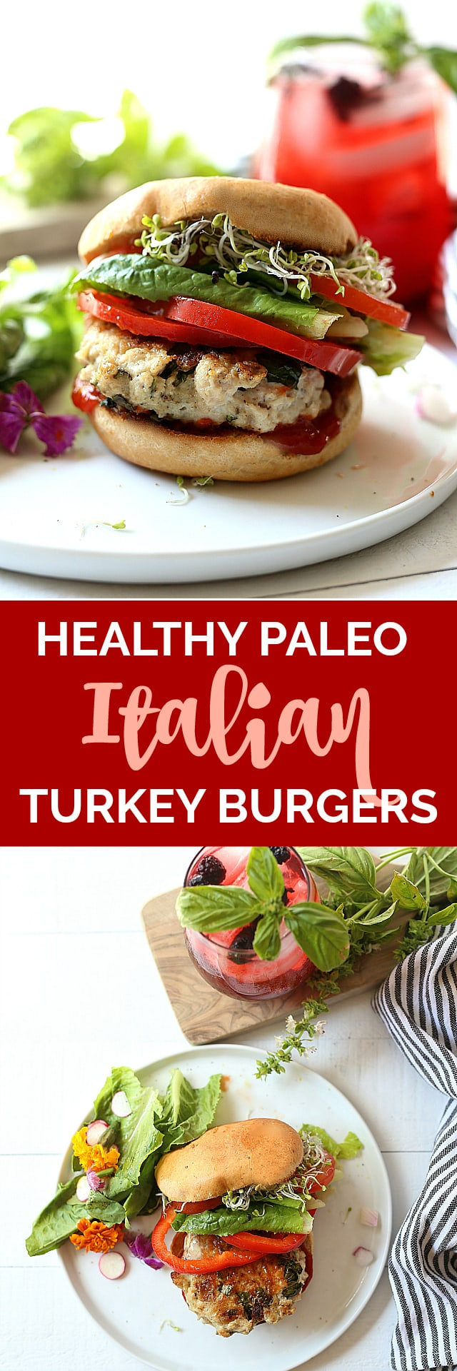 4-Ingredient healthy Italian turkey burger recipe sizzling with Italian flavors! Serve these ground turkey patties on a gluten-free bun with fresh red peppers and vegetables or over pasta with marinara sauce!