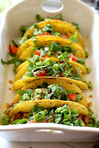 Mexican Rice & Bean Tacos With Vegan Green Dressing