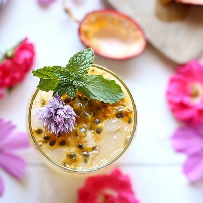 Sparkling Passion Fruit Cocktail + 20 Passion Fruit Recipes
