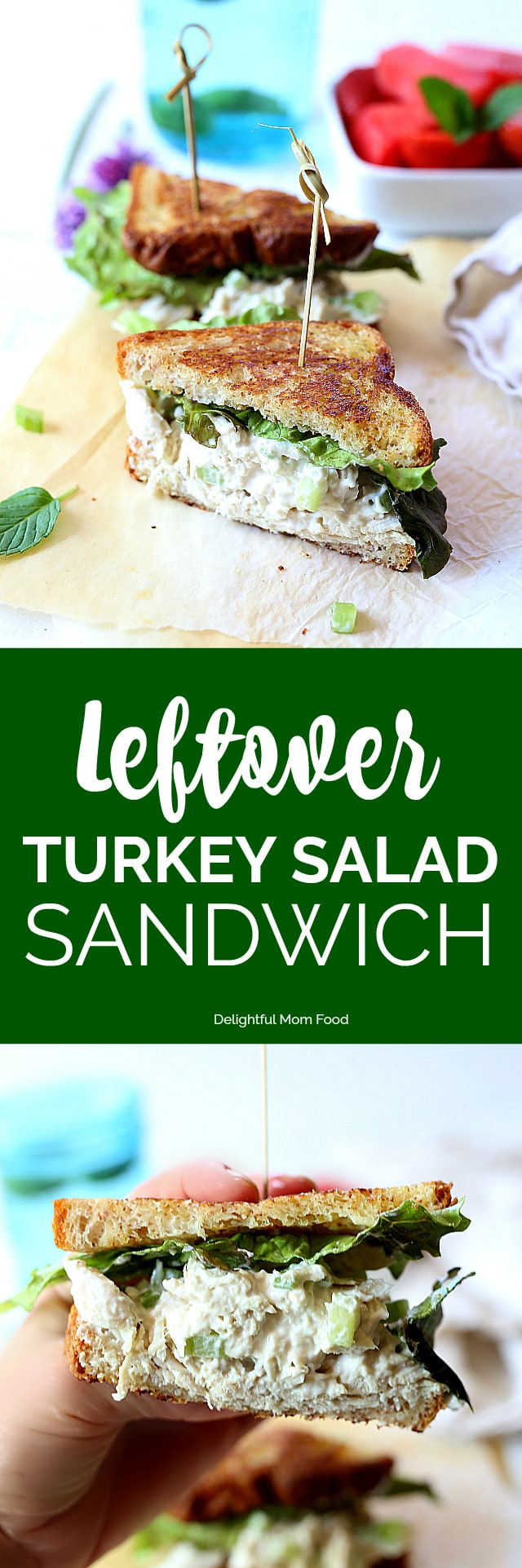 Healthyleftover turkey salad sandwich recipe to use up all that delicious turkey from Thanksgiving into lunches for the week!