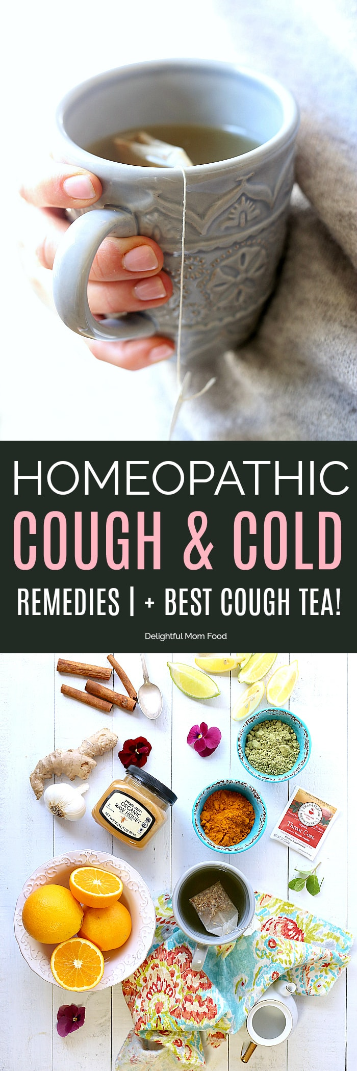 Natural remedies for cough, cold and flu symptoms to help heal your body quickly, boost immunity plus grandma's best tea recipe to fight a naughty cough that doesn't seem to go away!#homeopathic #remedies #healing #cough #cold #flu #home #natural #tea | Delightfulmomfood.com