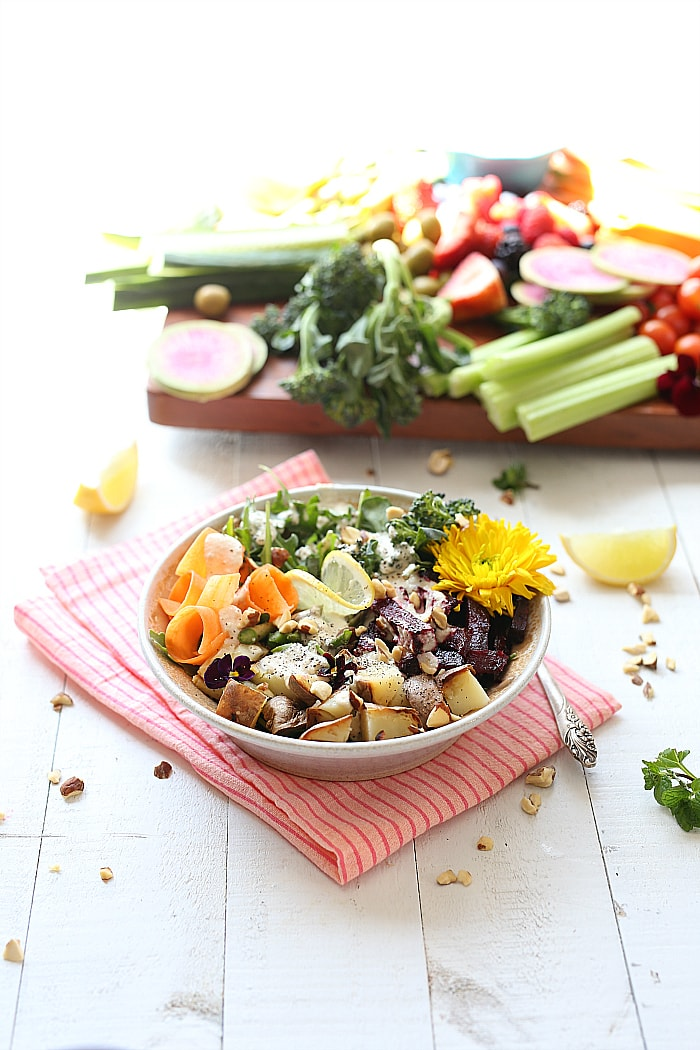 healthy spring root salad with cashew cream dressing