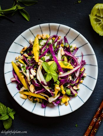 Crunchy Chicken cabbage mango salad