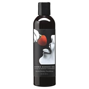 Earthly Body Edible Massage Oil Strawberry 8oz | Sex Lubricants