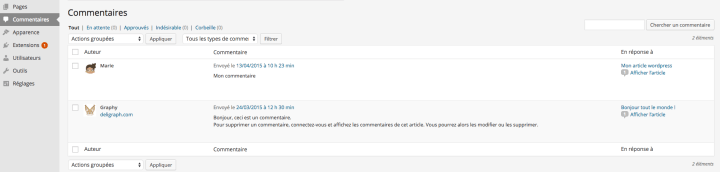 Les Commentaires de WordPress