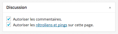 L'option Discussion sur les articles et les pages de WordPress