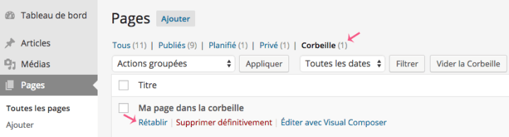 Comment restaurer une page WordPress