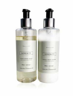 Serenity Hand Wash & Lotion Set by Delilah. Lemongrass & Ginger fragranced hand wash and lotion