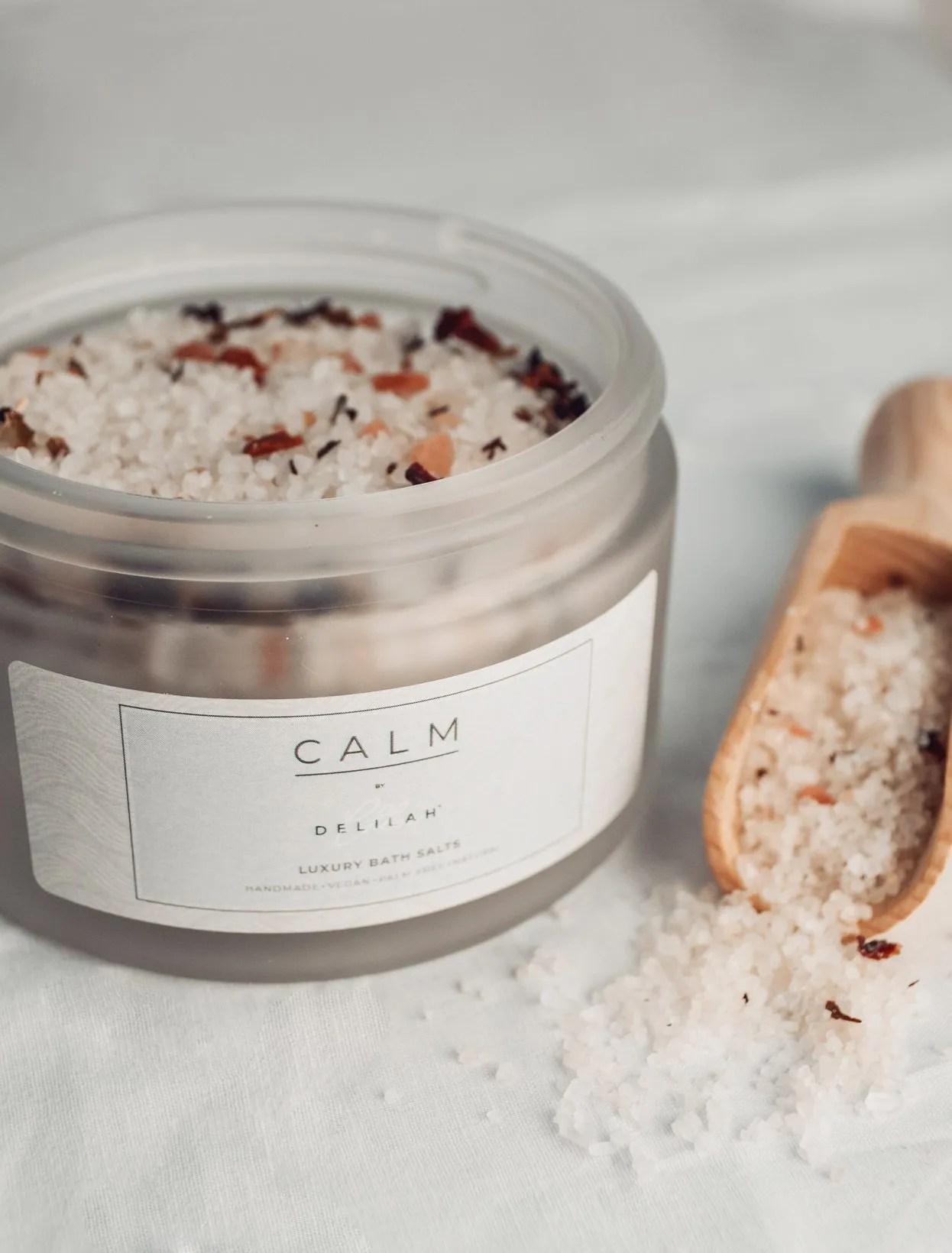 All-Natural Luxury Dead Sea, Himalayan Pink and Epsom Salts, CALM by Delilah Chloe. Handmade, vegan friendly bath salt range