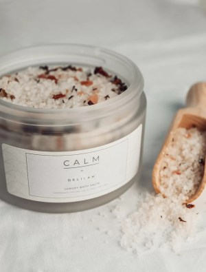 All-Natural Luxury Dead Sea, Himalayan Pink and Epsom Salts, CALM by Delilah Chloe. Handmade, vegan friendly bath salt range