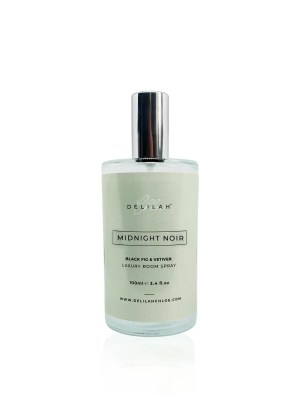 Midnight Noir Luxury Room Spray, luxury air fresheners by Delilah Chloe. Designer Home Fragrances