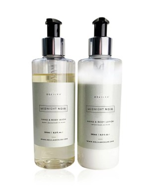 Midnight Noir hand wash and lotion set by Delilah Chloe. Black Fig & Vetiver fragranced toiletries