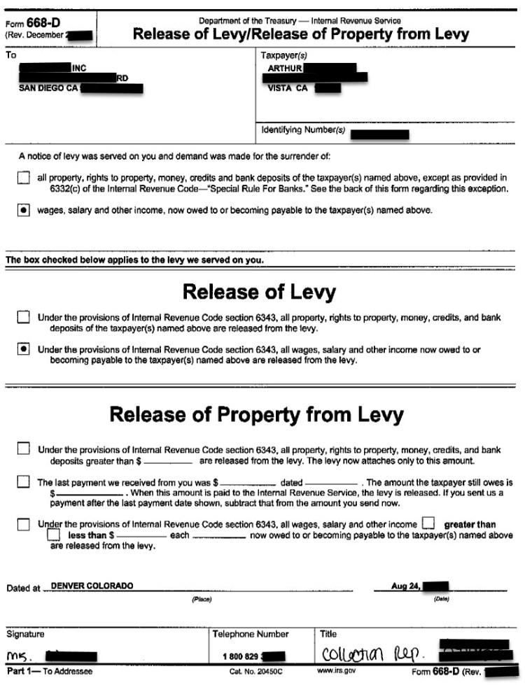 Actual IRS Wage Levy Release Confirmation Letter for Arthur