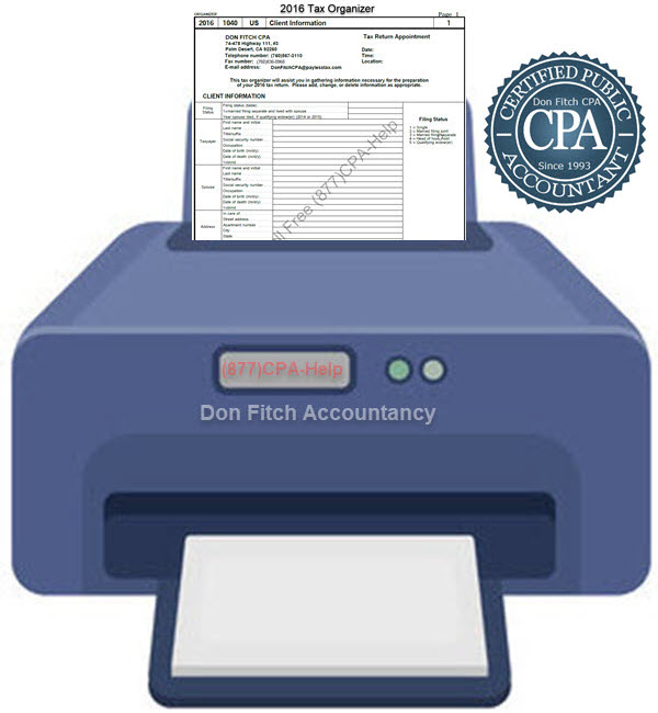 2016 Tax Organizer - Click on the above to Download the 2016 Tax Organizer in pdf format