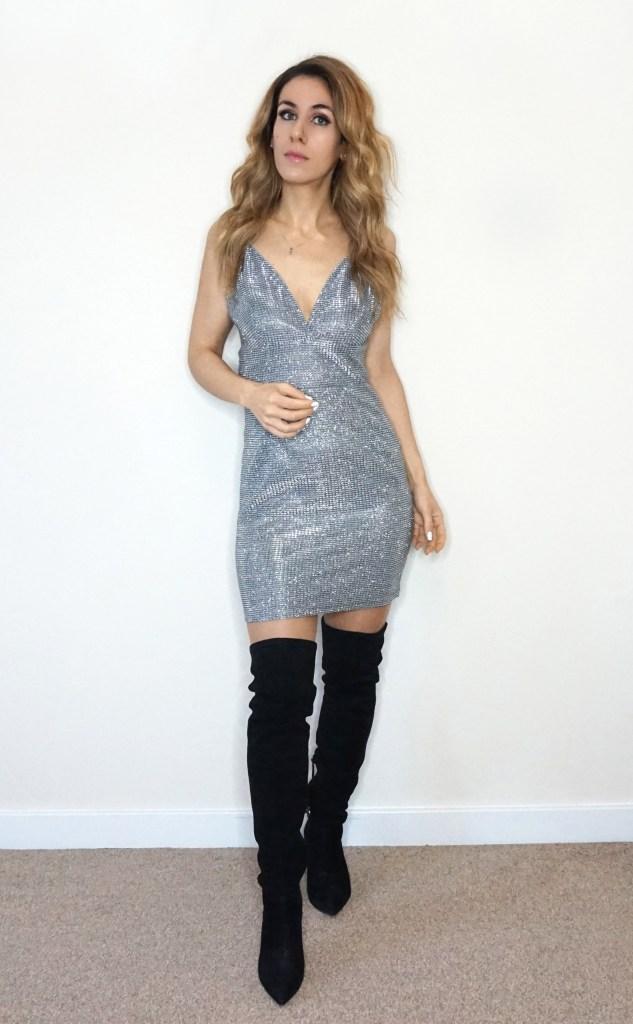 Vestido plateado Femme Luxe