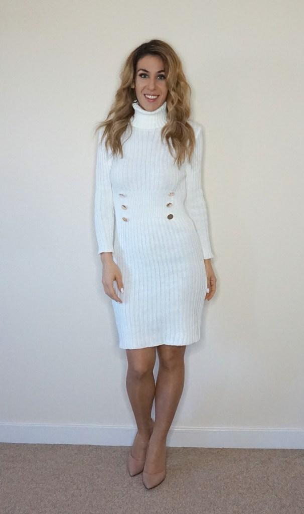 Vestido punto blanco Femme Luxe