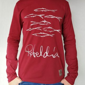 Camiseta rebeldia manga larga color burgundy hombre
