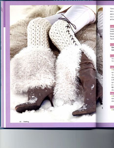 Knit.101 Book Faux Fur Lace Ribbed Leggings