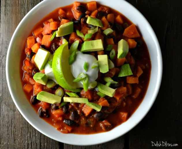 Smoky Sweet Potato and Black Bean Chili | Delish D'Lites