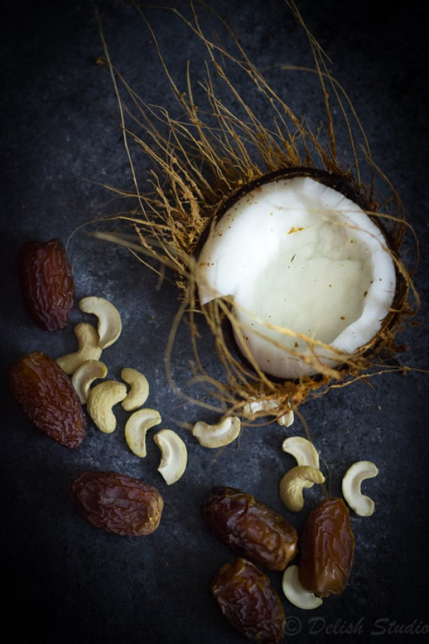 3 ingredients - coconut, dates and cashews