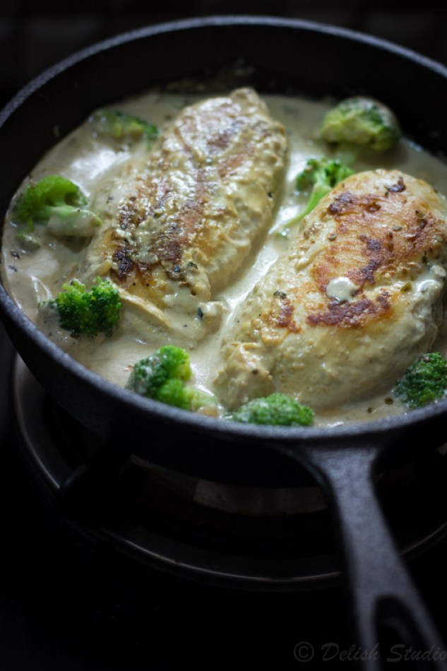 Final step of adding chicken in the sauce to make Creamy garlic chicken with broccoli