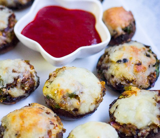 Cheese stuffed mushrooms (Easy party appetizer recipe)
