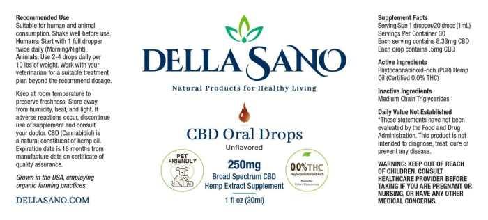 CBD Oral Drops 250mg