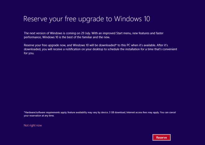 Windows10 Reserve