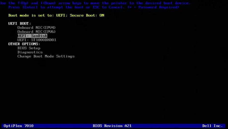 Boot Menu One Time USB2