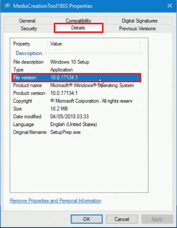 Download Windows 10 Version 1803 Using the Media Creation