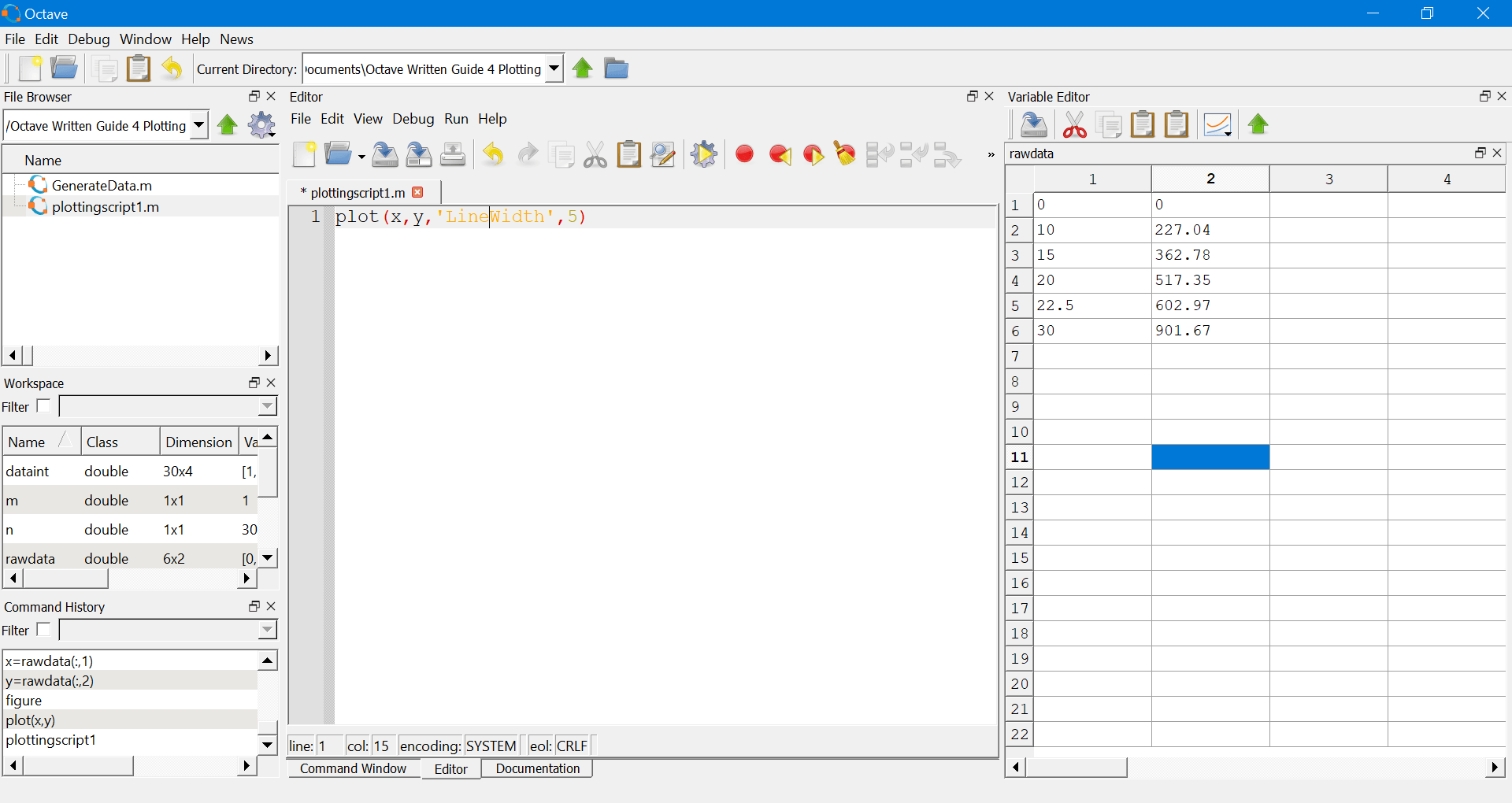 Plotting 2D Figures in Octave/MATLAB - Windows 10 Installation Guides