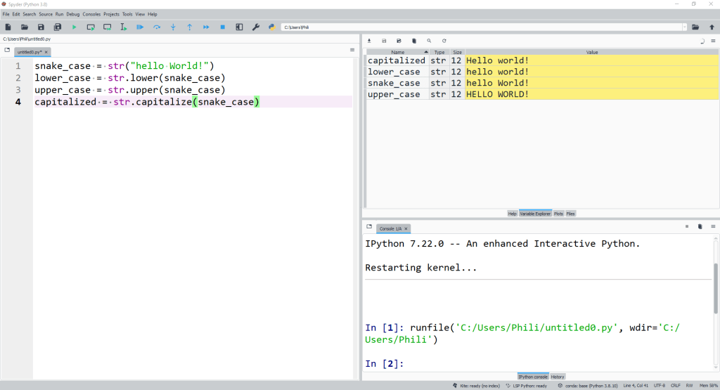 str methods examples called from the class and applied to an instance.