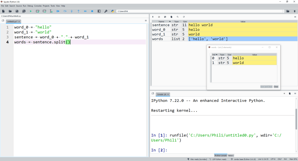 The output is a new object type or class list which displays on the variable explorer and can be examined.